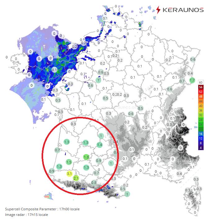 Le potentiel de supercellules est en hausse entre #Aquitaine et ouest de l'#Occitanie au pointage de 17h. Des #orages parfois forts sont attendus ce soir et cette nuit sur ces régions, avec rafales de vent, grêle et pluies soutenues. Suivi temps réel :
