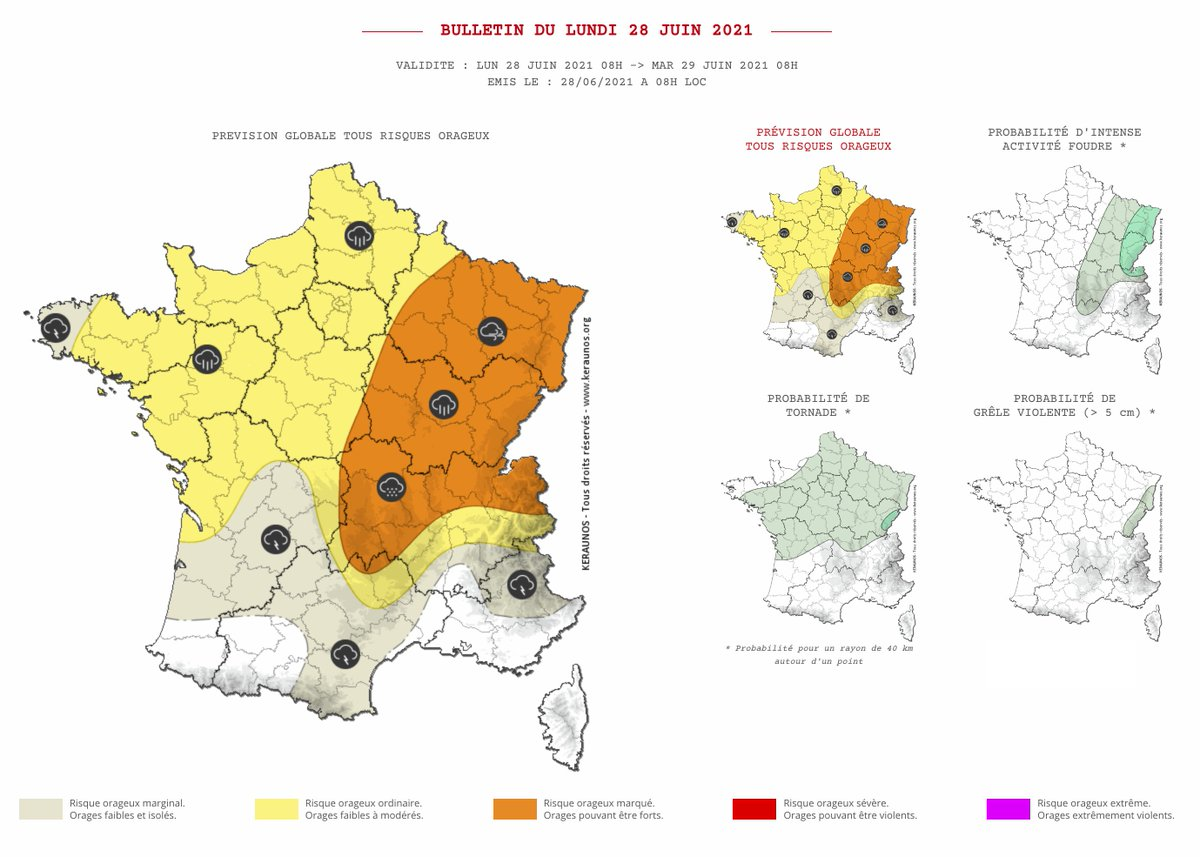 En cours d'après-midi et de soirée, des #orages parfois puissants évolueront du #MassifCentral vers la #Lorraine, puis du nord des #Alpes vers l'#Alsace, en produisant de fortes pluies, de la grêle et des rafales de vent loc. > 90 km/h. Bulletin complet ->