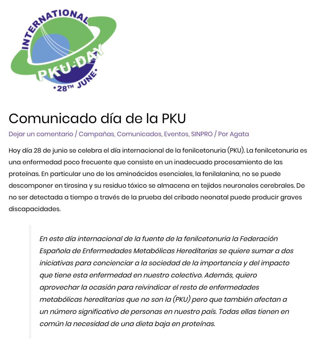Hoy 28 de junio, es el Día Internacional de la #Fenilcetonuria #PKU #EnfermedadesRaras #PKUDAY2021 @PKU_Day @Metabolicos_es