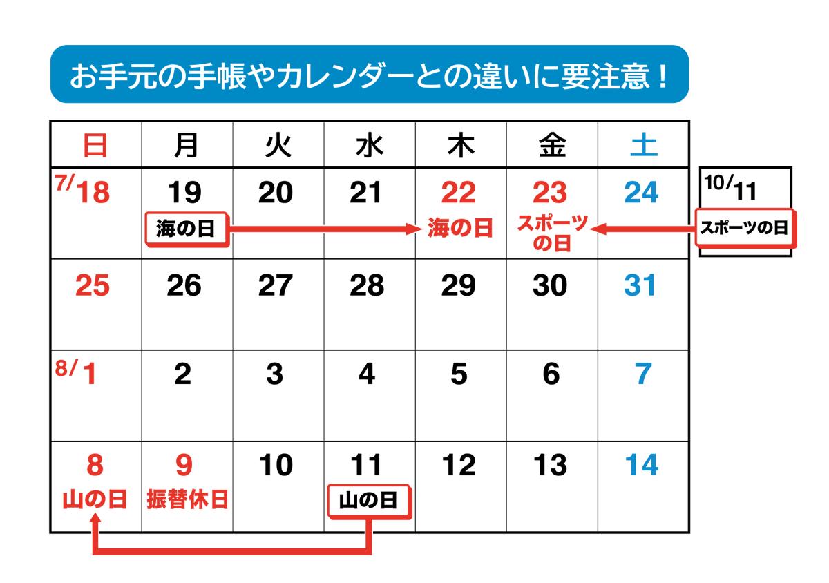 今年は3つの祝日が移動するため、祝日の勘違いに注意!