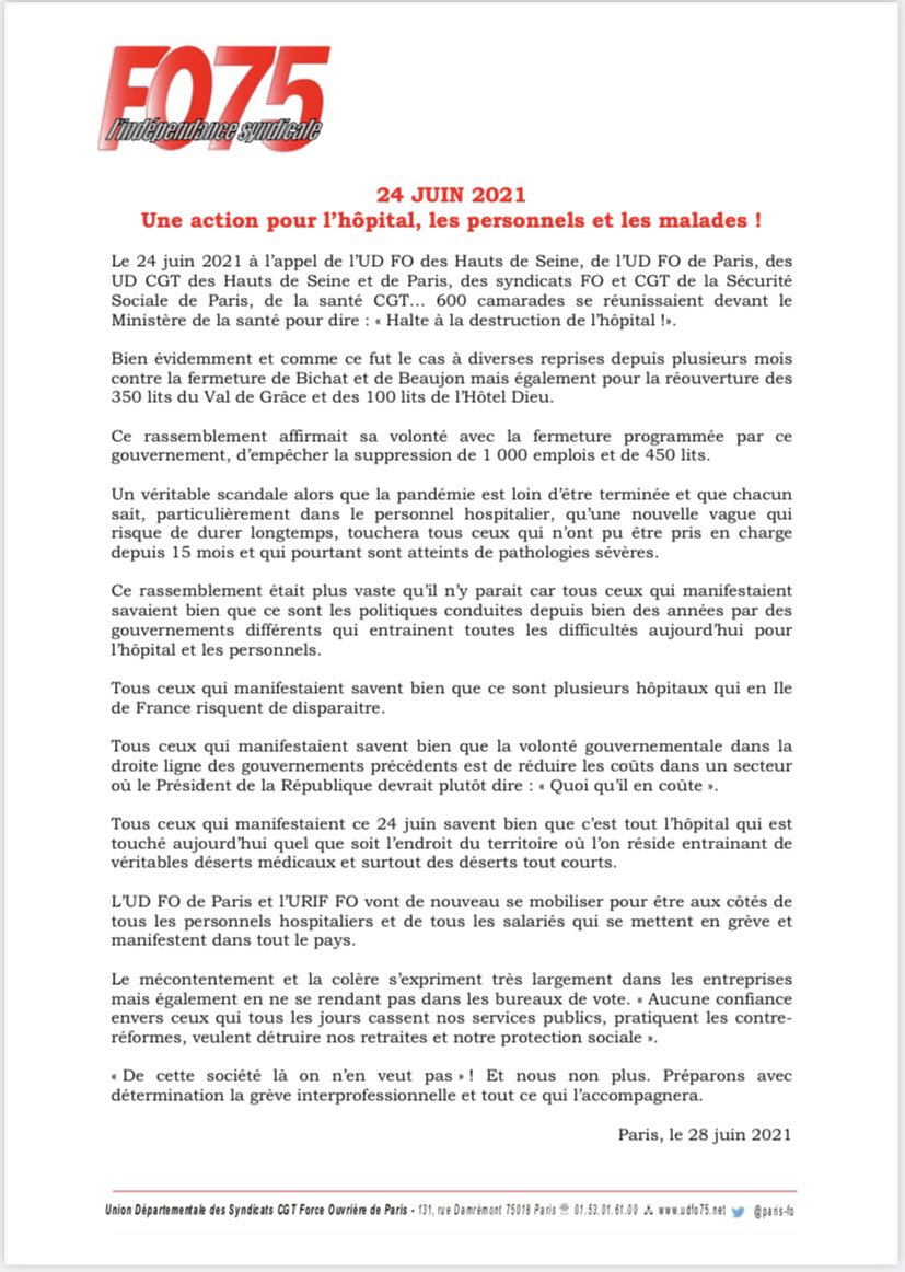Communiqué @paris_fo 24 JUIN 2021 Une action pour l'hôpital, les personnels et les malades ! #24juin #hôpital @URIFF0  #ServicePublic #Covid_19 https://t.co/1avrYMj9gI