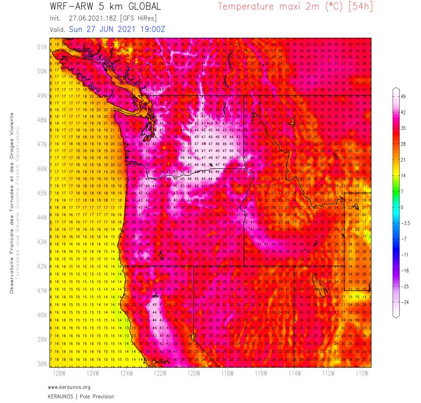 Encore deux journées historiques entre #Oregon, #Washington et Colombie Britannique. Localement 48°C attendus dans l'état de Washington (au niveau du record absolu de l'état), 45/47°C ailleurs selon ARW 5 km.