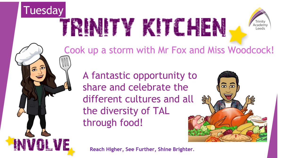Trinity Kitchen 🍴 ⭐️ We can't wait to see our founding members choose their Involve clubs! Each Tuesday, we will be running Trinity Kitchen, a fab opportunity to share & celebrate the different cultures & all the diversity of TAL through food 🍝🍟🧁  #Food #Leeds #CoCurricular