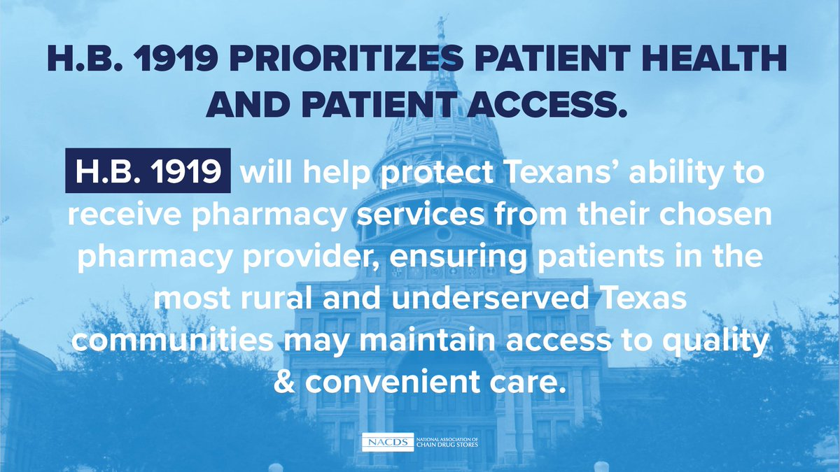 Texas understands the importance of protecting patient choice. NACDS is calling on @GregAbbott_TX to sign HB 1919. @CodyforTexas @DrSchwertner #txlege https://t.co/PfWBOKky3J