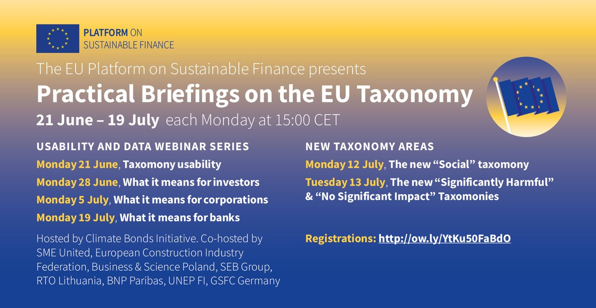 📢Join #EUTaxonomy webinars from Platform #SustainableFinanceEU.Starts 21 June 15:00 CEST on usability & data, then every week!https://t.co/Xba7xhLv0e@nathanafabian @ClimateBonds @UNEP_FI @SEBGroup #RTOLithuania @FIEC_Brussels @BSP_Brussels @SMEunited @BNPParibas @gsfcg