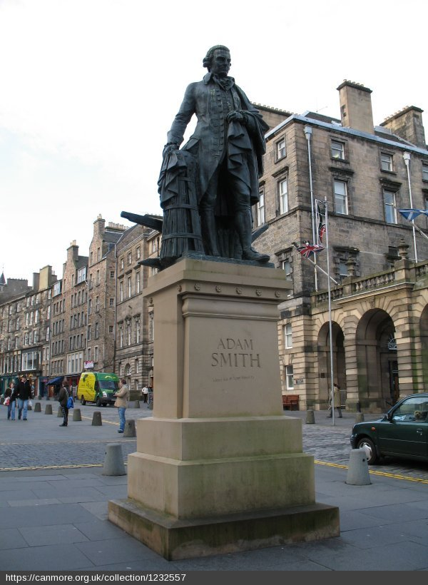 Adam Smith was born in Kirkcaldy #OnThisDay in 1723.  His statue close to St Giles Cathedral in Edinburgh is hard to miss, but have you spotted the medallion set into pavement further down the Royal Mile? It's outside Canongate Kirk, where Smith is buried. https://t.co/KAv50p7jAE