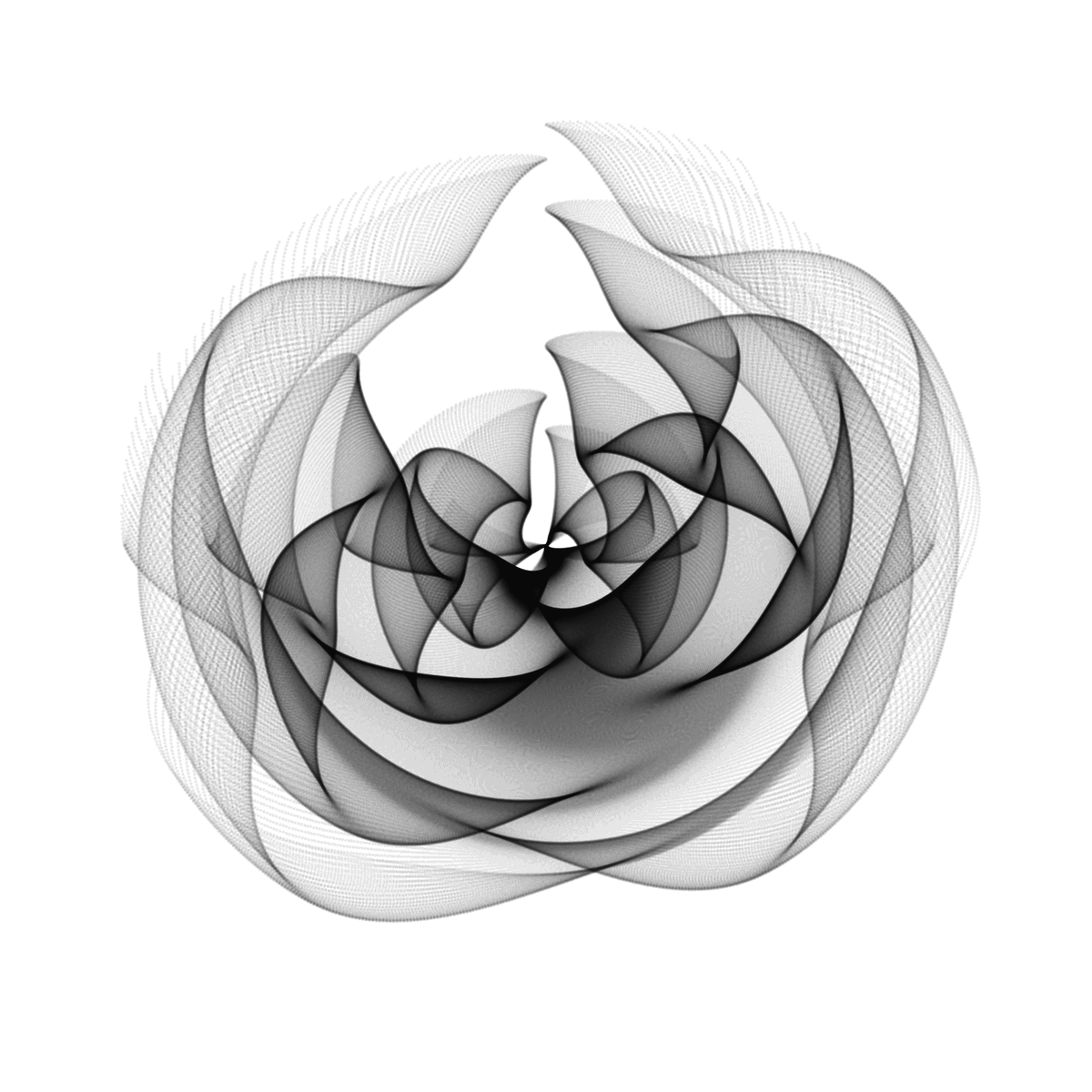 #rose library(tidyverse) seq(-3,3,by=.01) %>%   expand.grid(x=., y=.) %>%   ggplot(aes(x=(1-x-sin(y^2)), y=(1+y-cos(x^2)))) +   geom_point(alpha=.05, shape=20, size=0)+   theme_void()+   coord_polar() #rtistry #rstats #Maths #generativeart