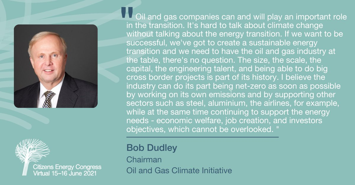 OGCI's Chairman, Bob Dudley, discussing The future energy mix: what role can oil and gas companies play to support a sustainable energy transition?  With @MarkSBrownstein, Senior VP of Energy, @EnvDefenseFund and moderated by @flacqua, Anchor and Editor-at-Large, @BloombergTV.