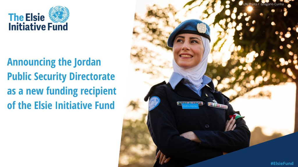 We are proud to announce the 6th recipient of the #ElsieFund: 🇯🇴 Jordan's Public Security Directorate!   Their project will construct a dedicated women's training and accommodation facility to increase the skills and deployment of #WomenInPeacekeeping. https://t.co/01Al49He0J