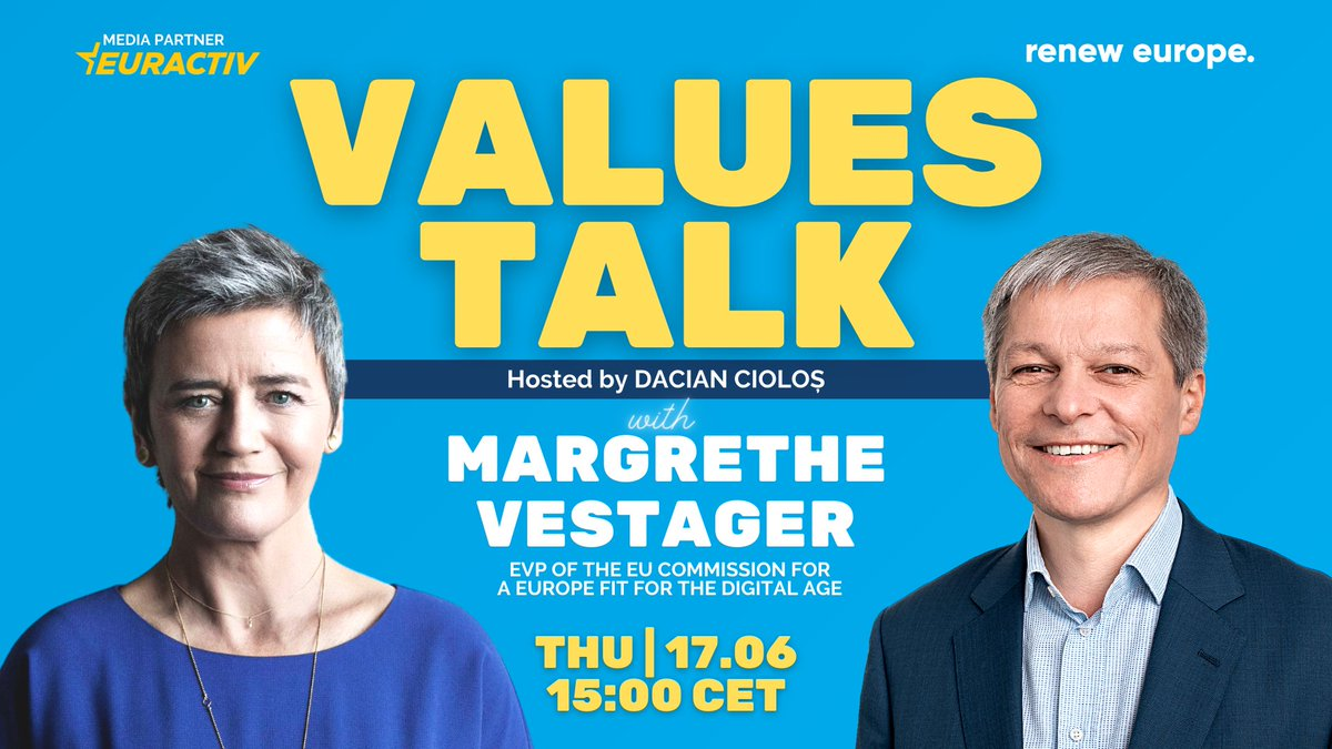 test Twitter Media - 🔴 Tomorrow 3pm EURACTIV's @BrianMaguireEU will moderate @RenewEurope's #ValuesTalk series with @EU_Commission EVP @vestager & Renew EU President @CiolosDacian.   Topic of the day: #ArtificialIntelligence. Join the discussion and ask your questions via: https://t.co/A51nHfKXZA https://t.co/Li9pYgpl4E