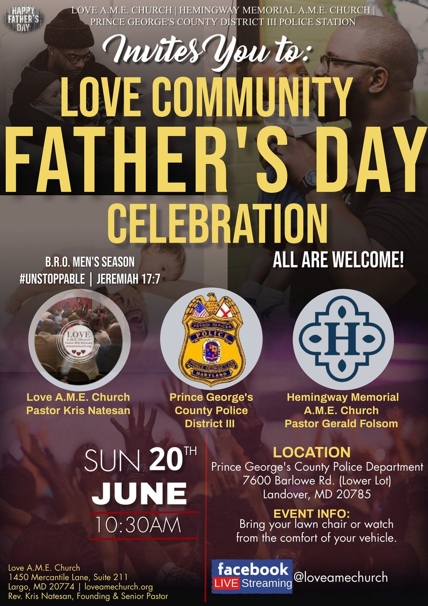 Join us at the District III station (7600 Barlowe Rd) at 10:30 am, along with Love A.M.E Church and Hemingway Memorial A.M.E Church for a Father's Day celebration on Sunday, June 20th. All are invited to attend. #PGPD #Community #Faithandblue #FathersDay2021 https://t.co/4BWVXV2xgK