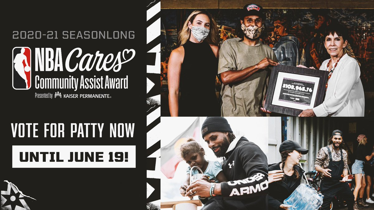 Our friend #PattyMills with the @spurs has been nominated for the 2020-21 #NBACommunityAssist Award, recognizing all his amazing work in the community this year (and beyond!). Want to help him win? Retweet this post, or click the link to vote online: https://t.co/L9tHvBuxhO https://t.co/mOzL88spPB