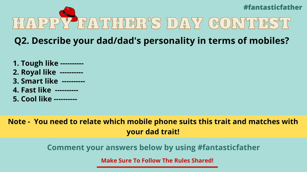 Get rolling for the second question of the father's day contest guysss! Tag ur friends and let them know about this contest and increase the chances for your win.   #FathersDay #fantasticfather #father #FathersDay2021  #contestalert #Twitter #fathersdaygifts #gift #Wednesdayvibe https://t.co/TBlqC14jNs