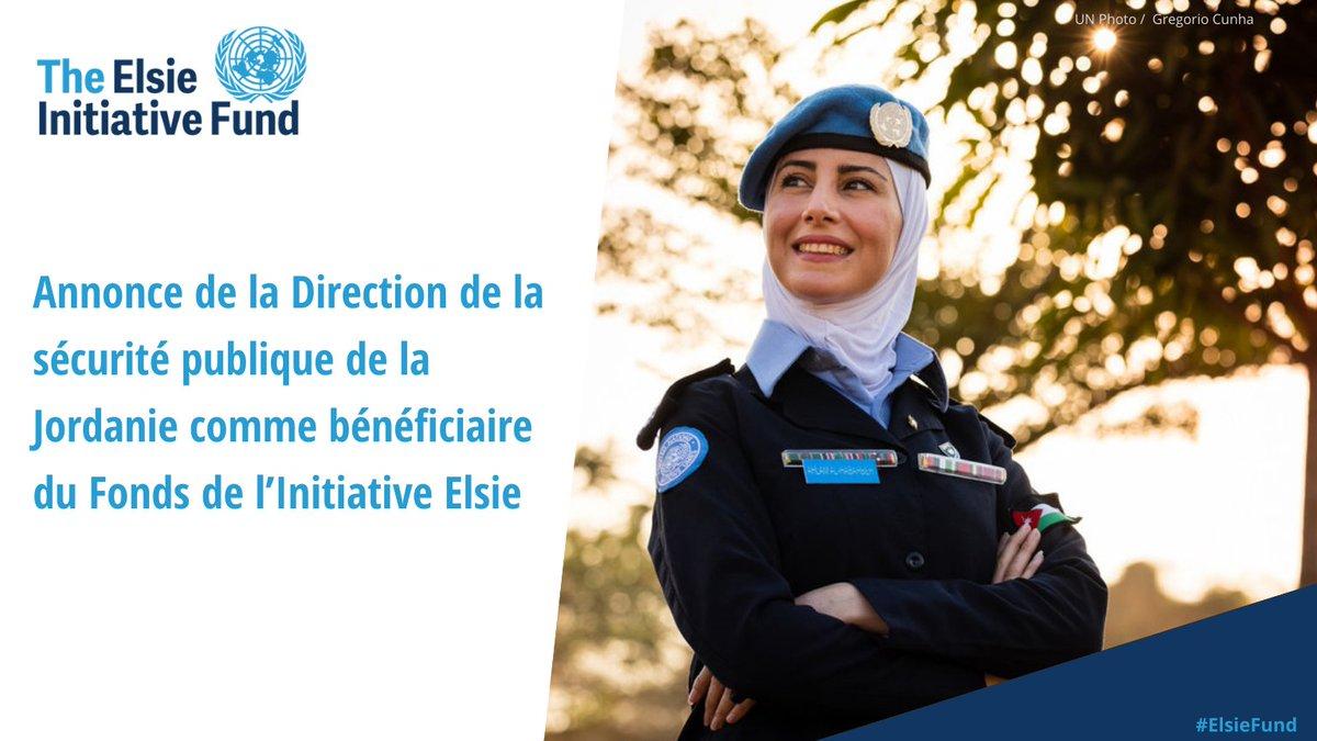 Nous sommes fiers d'annoncer le 6ème bénéficiaire du #ElsieFund : La Direction de la sécurité publique jordanienne.   Leur projet construira un centre de formation et d'hébergement dédié aux femmes afin d' ⬆️  leurs compétences et le déploiement des femmes aux @UNPeacekeeping. https://t.co/6Nn3gUvYvC