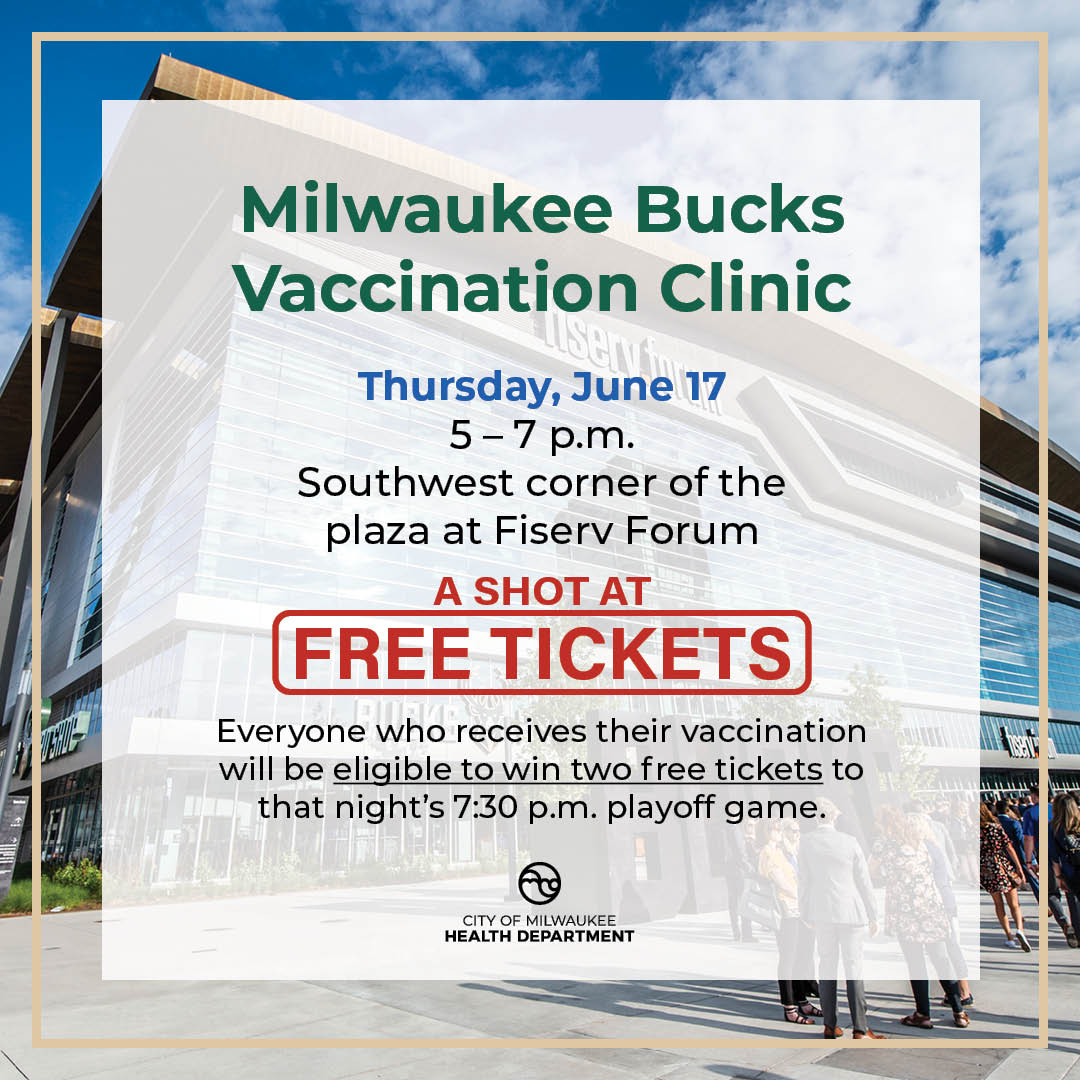 We're getting one pair of lucky @Bucks fans into @FiservForum tomorrow for Game 6 for free! Come find us between 5 - 7 pm for your free vaccine, and you'll be entered to win two tickets to the game that night! #CrushCovidMKE & #GoBucks! https://t.co/5LySgJfP8G