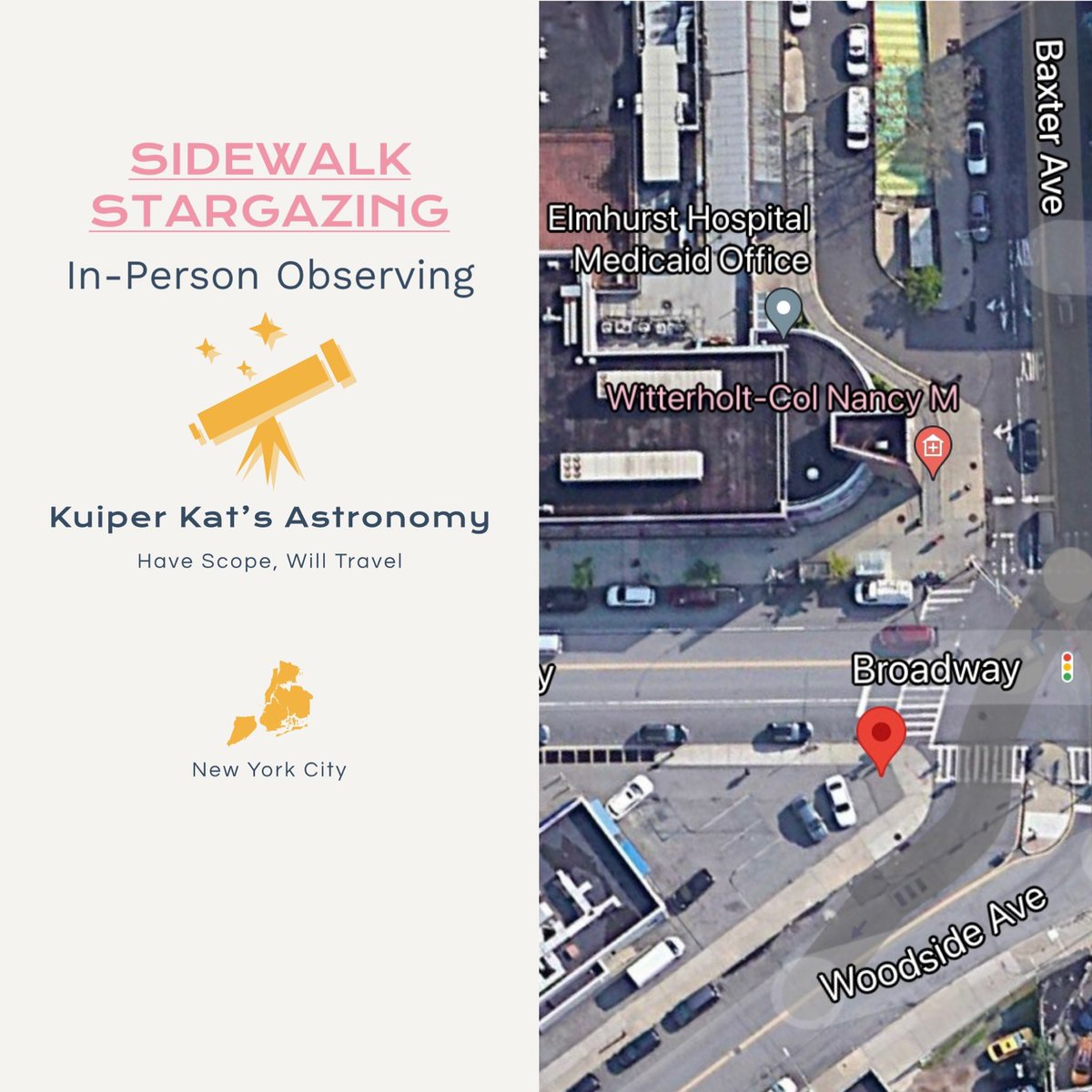 SATURDAY: Join me for some lunacy as we gaze at the Moon and other things on June 19, from 8:30 – 9:30 PM. Free event. Masks recommended.   #SidewalkAstronomy #Elmhurst #Stargazing #NYCAstronomy https://t.co/CfkibFxlmL