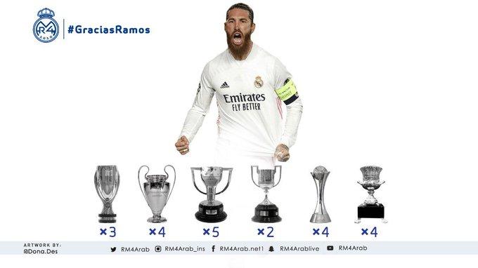 22 بطولة للقائد راموس مع الملكي ريال مدريد: 5
