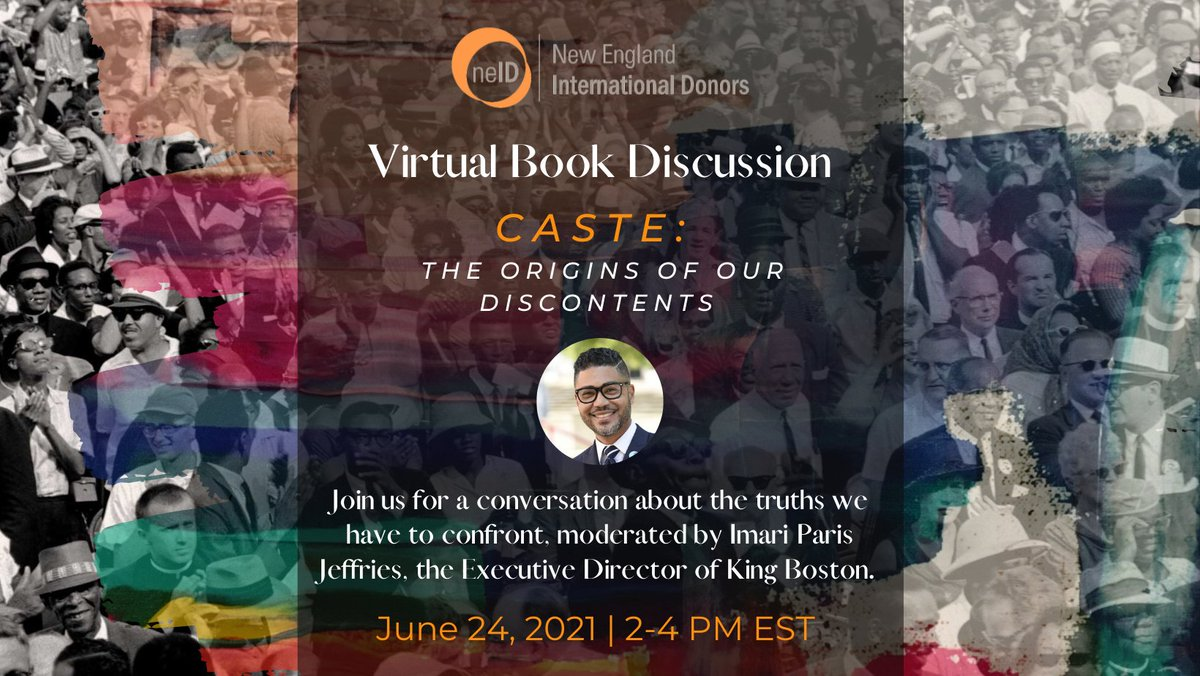 We are thrilled to have @askimari of @KingBoston11 moderate our Book Discussion on Caste by @Isabelwilkerson next Thursday June 24th at 2pm EST! #racism #Equality #History   Join us by RSVPing here: https://t.co/dM35b7AJSC https://t.co/vrwnKoB4NF