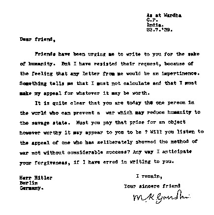 An appeal for peace from Gandhi to Hitler before #WWII officially began: https://t.co/Y8YDYqlJWt #history https://t.co/Uqt7Lio9PW