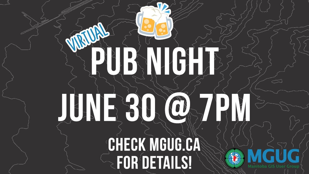 test Twitter Media - Join MGUG for a Virtual Pub Night on Wednesday June 30 at 7pm! Head to https://t.co/b1xr3aWkuI for the link to RSVP on Meetup! Everyone is welcome, new members are encouraged to join! 🍻 #GIS #mgug #mgug2021 #manitoba #gisprofessional https://t.co/Gh5My0srcv