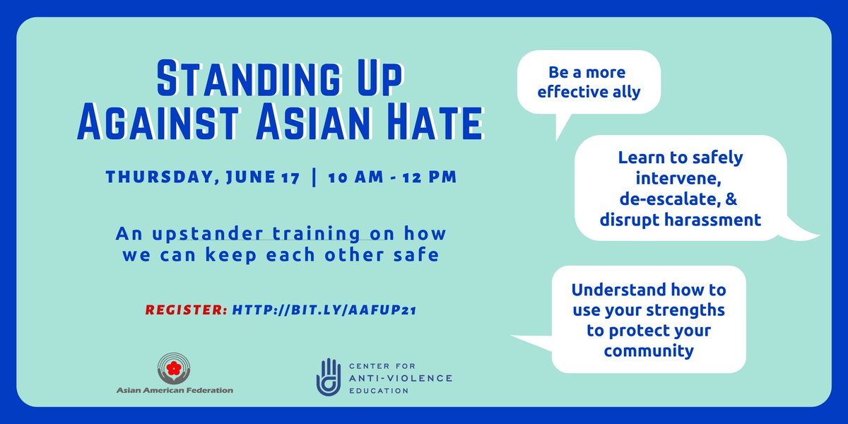 TOMORROW: Join @AAFederation and @CAENYC for a Standing Up Against Asian Hate Upstander Training.   Learn how to safely intervene in the face of anti-Asian harassment with de-escalation tactics and calling-in strategies. RSVP: https://t.co/CVEnH7stAG #StopAAPIHate #StopAsianHate https://t.co/mS6mHnyNVL