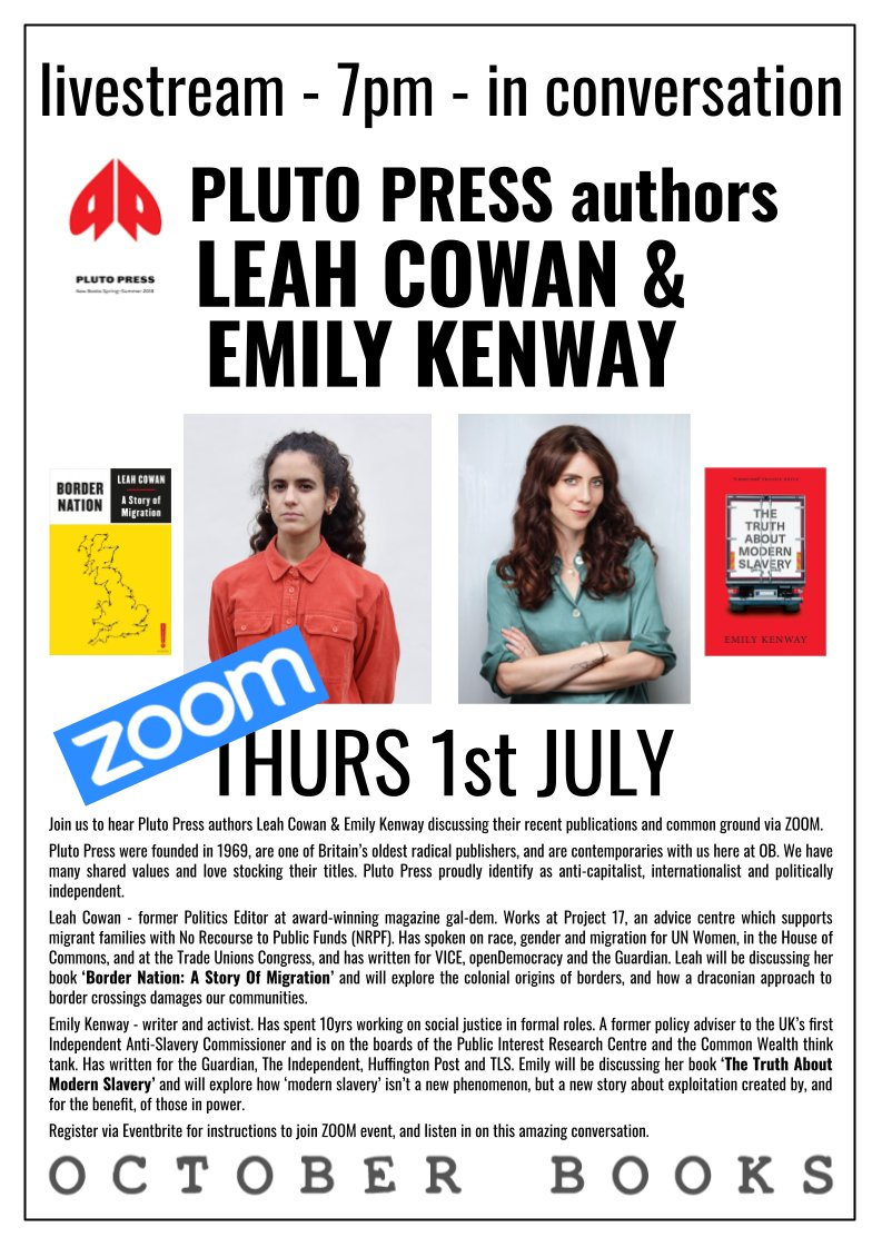 📆THREE weeks tonight, we're hosting a livestream with @PlutoPress authors Leah Cowan @La_Cowan and Emily Kenway @emilykenway in conversation   Tickets are FREE and necessary to get in - book yours now!  https://t.co/VvYDDTlLJ4 https://t.co/2iKUjBrlyH