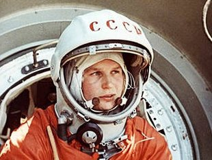 Valentina Tereshkova in a spacesuit just before boarding the Vostok 6 capsule