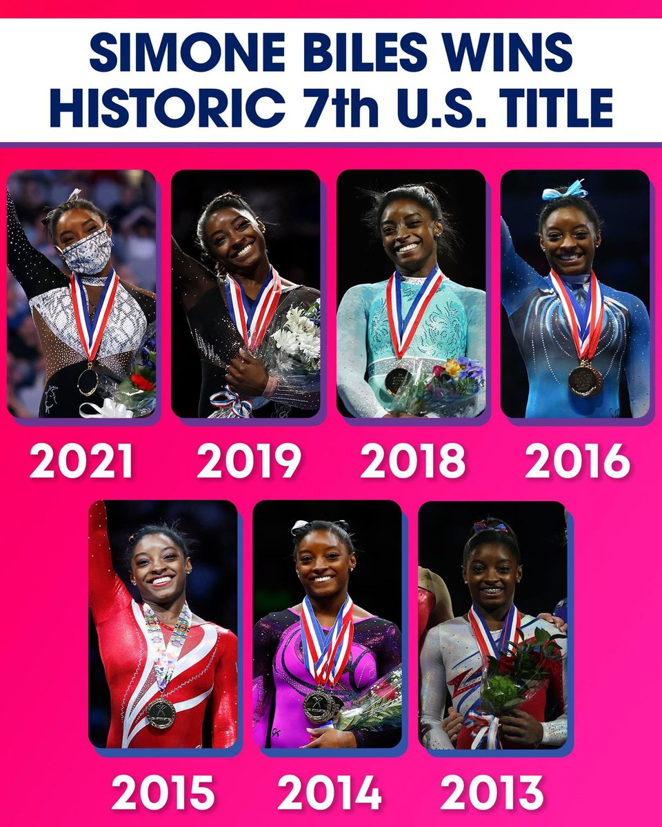 Simone Biles is the first woman to win seven US championship titles https://t.co/BujxdQtDAF