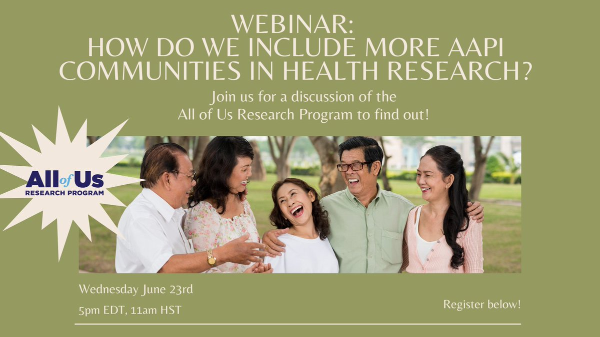 Right now, only 5% of #health & medical #research includes #AAPI communities. This means that #healthcare is not as precise & targeted as it can be. @AllofUsResearch is working to change that! Sound good to you? Join a discussion to learn more! Register at https://t.co/x7yFzCwWZ3 https://t.co/swHcYUelAD