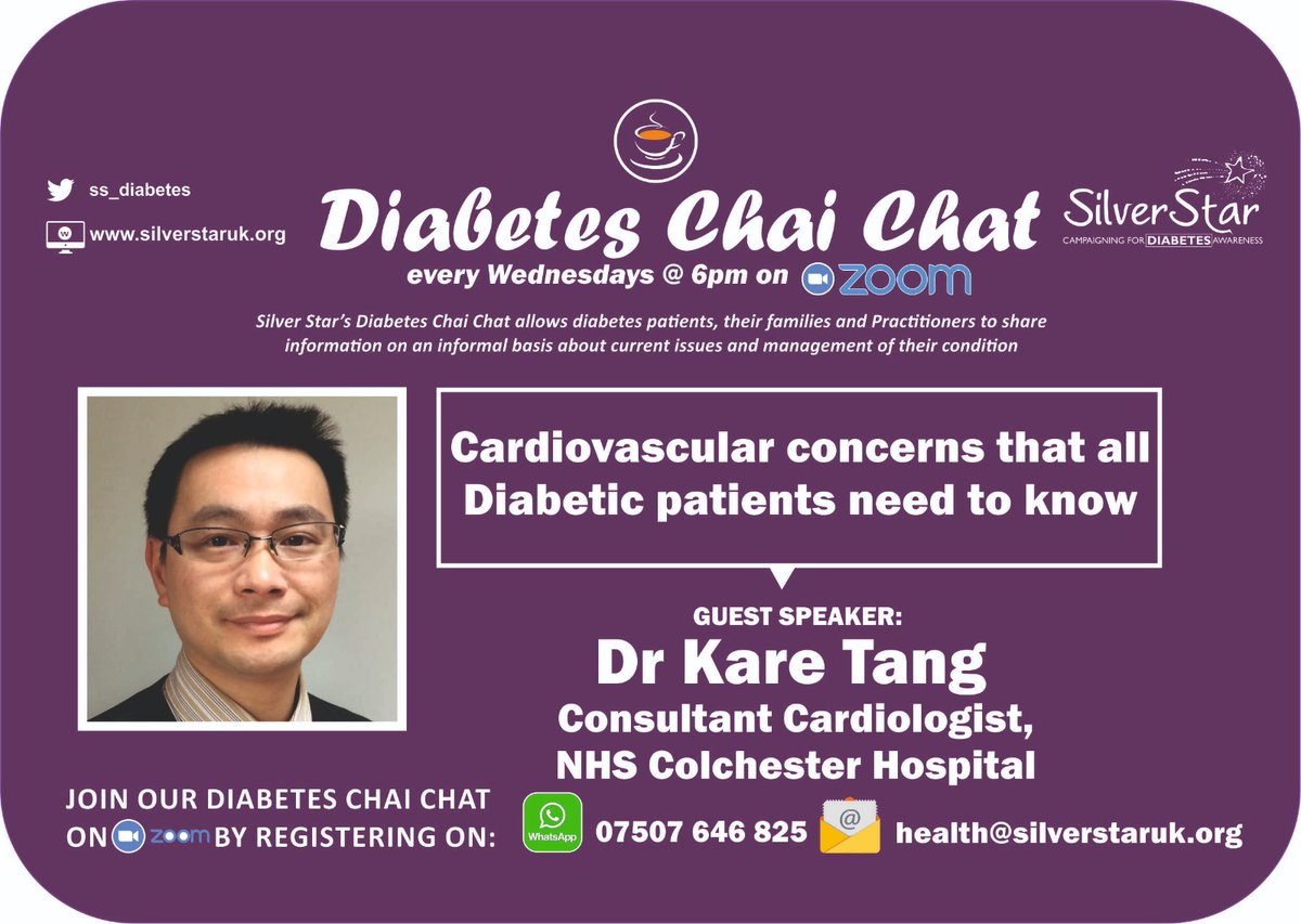 🙏 #Thank-you to Dr Kare Tang #consultant #Cardiologist for joining the @ss_diabetes  #Chai #Chat #today on #Zoom. A very informative presentation about #cardiovascular  concerns that all #diabetic #patients need to know https://t.co/Wv8lzPfmtj
