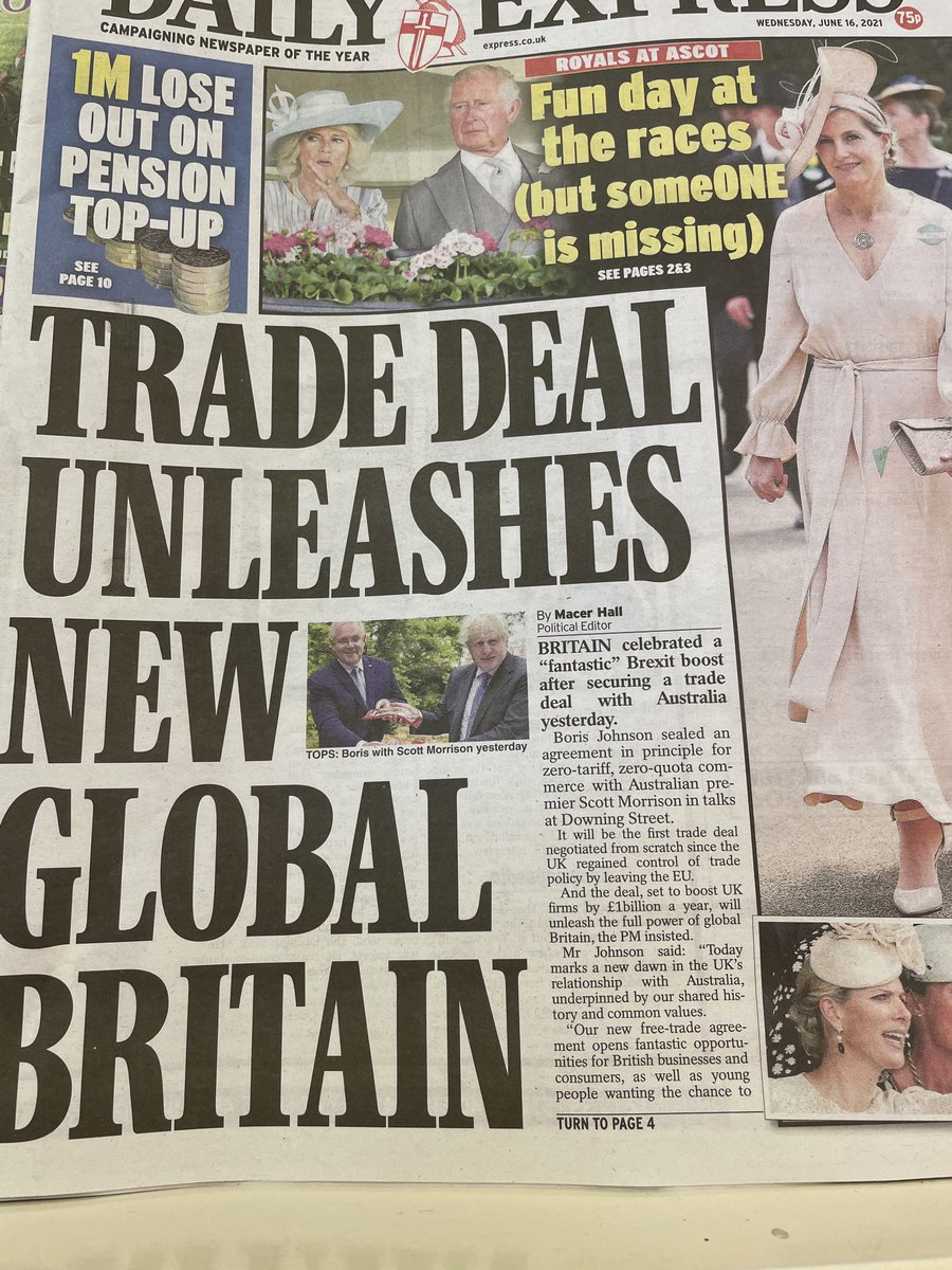The Daily Express's welcome today to an Australian trade deal that a) disproportionately benefits Australia b) will not compensate even a fraction for what is lost. It is not journalism but propaganda. Owners Reach PLC ( formerly Trinity Mirror) must surely act soon.