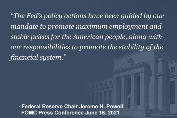 """""""The Fed's policy actions have been guided by our mandate to promote maximum employment and stable prices for the American people, along with our responsibilities to promote the stability of the financial system."""" - Federal Reserve Chair Jerome H. Powell, FOMC Press Conference, June 16, 2021"""