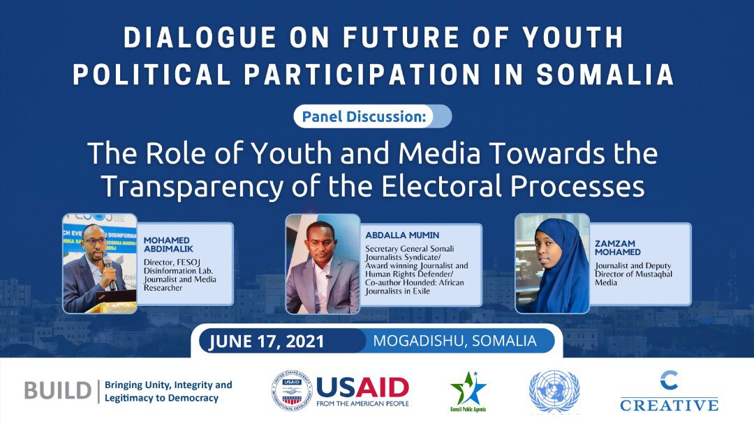 The final day of our two day event will be concluded tomorrow with a key important topic on The Role of #Youth and Media Towards the Transparency of Electoral Process where key experts on media and misinformation will discuss with our #SomaliYouth both in person & virtually. https://t.co/FkJoRMdOxF
