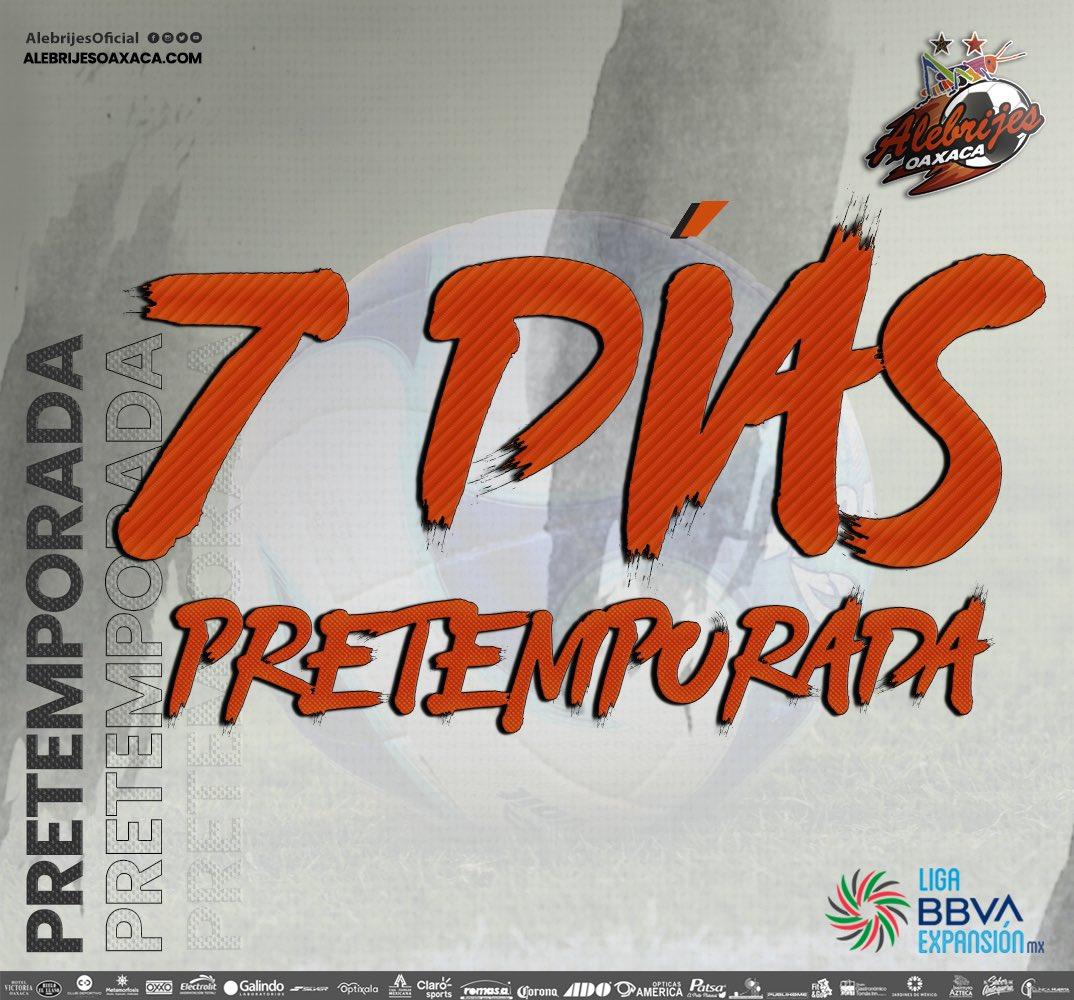 ⏳⚽️| Cada vez falta menos para regresar a la actividad 🔜 #Apertura2021 de la @LigaMXExpansion estamos a 7️⃣ días de la #PretemporadAlebrije👊🏼🦗  #AlebrijesEsOaxaca💚🖤🧡 #Alebrijes🦗 https://t.co/x5XDECHOcE