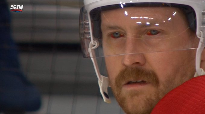 Petry from the habs with his blood shot eyes, habs in 5