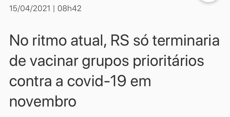É hora de a imprensa começar a fazer perguntas e questionar. Especialistas previam tsunami na epidemia como março em Porto Alegre entre maio e junho. Erraram feio! E diziam que grupo prioritário só terminaria de vacinar em novembro. Já se vacina por idade. Erro grotesco. https://t.co/wR2xGvsTnM