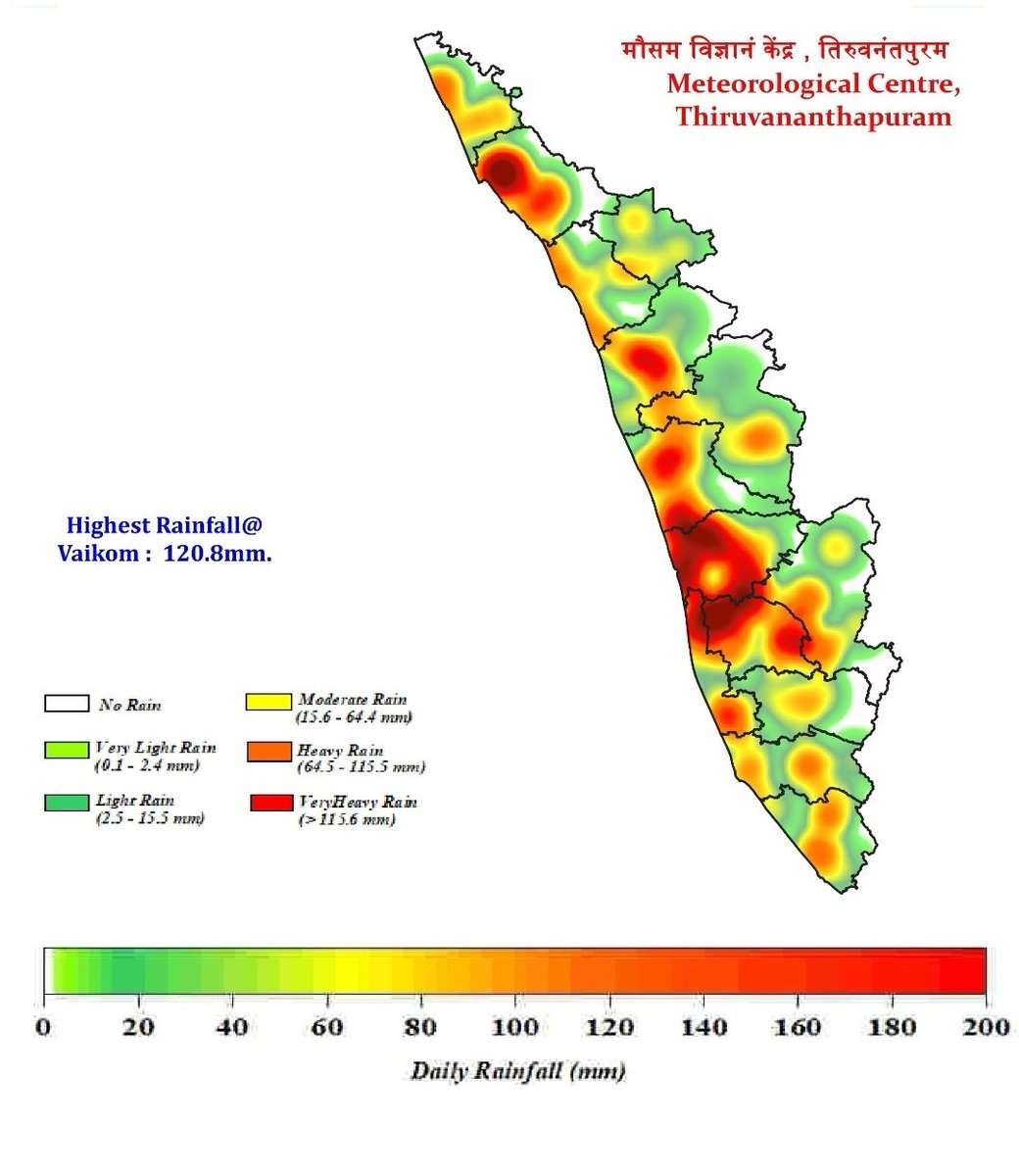 Wettest day in #Kerala up till now in June is 13th.  #Ernakulam, #Kannur, #Alappuzha, #Kottayam, #Thrissur, #Malappuram districts saw 100mm+ rains😍  Also #Kerala has got back in track from deficient to normal rains in June due to good rains last 7 days or so. https://t.co/8UFQxvzoBO