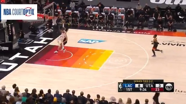 Terance Mann shows off the hustle, sprinting at 15.5 mph, tracked by #NBACourtOptix powered by Microsoft Azure!  #NBAPlayoffs on TNT https://t.co/M2JTGHJyK1