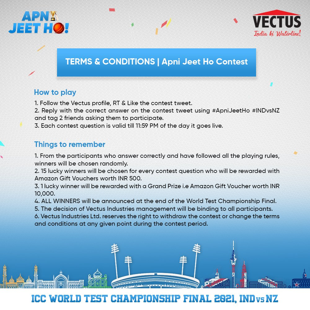 For your participation to be considered valid in the #ApniJeetHo #INDvsNZ #contest, please make sure you go through these Terms and Conditions very carefully and follow all the rules.  #Vectus #IndiaKiWaterline #WorldTestChampionship https://t.co/SS6PhHYkeA