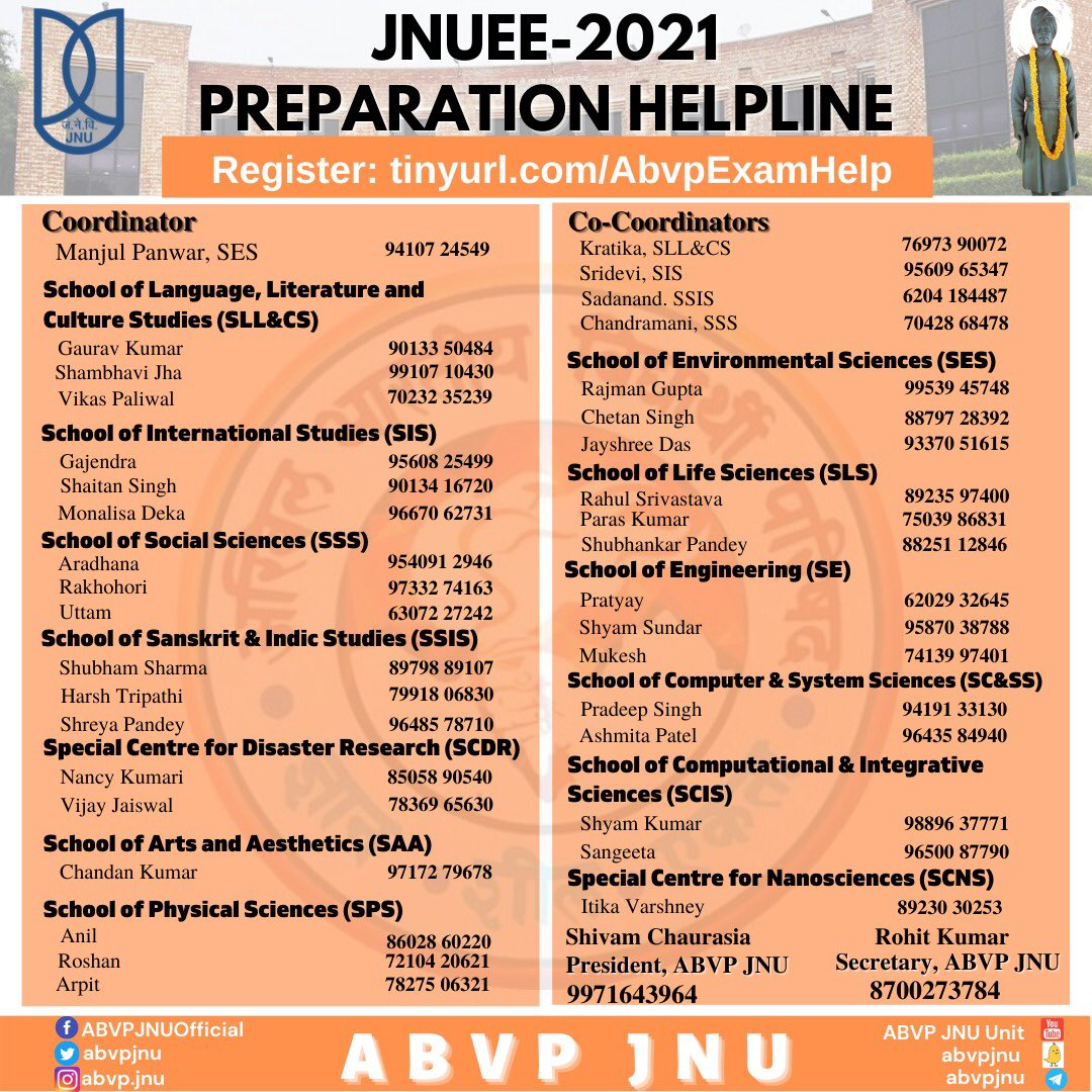 ABVP JNU has launched its coaching and guidance program for the JNU Entrance Examination (JNUEE 2021).  If you aspire to be a student at JNU, register now to get guidance for JNUEE 2021 preparation: https://t.co/MqCPSbw8r1  For any queries, feel free to contact on the helpline! https://t.co/wuaim3e8m5