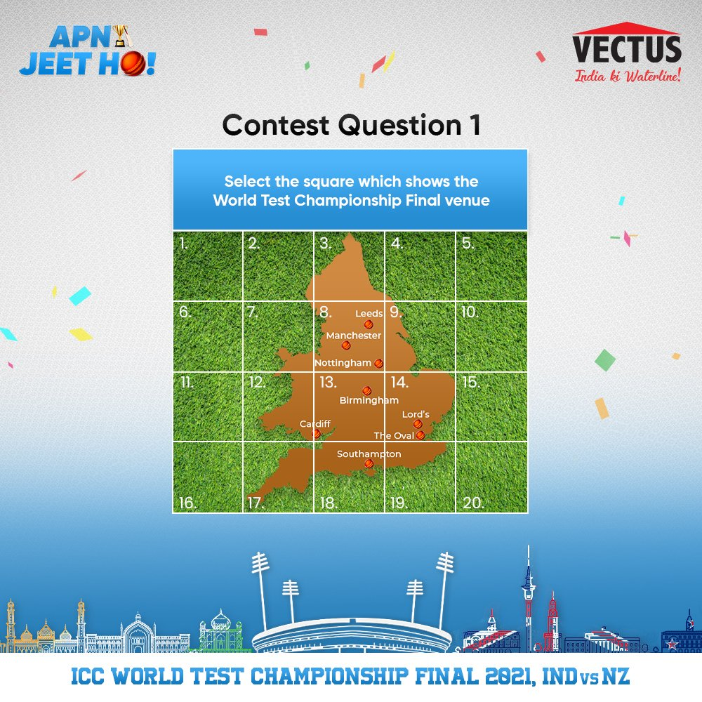 #Contest 🚨 Stand a chance to win Amazon gift vouchers worth INR 500, 1 lucky winner gets it worth INR 10000! 1. Follow Vectus, RT & Like this tweet 2. Reply with the answer using #ApniJeetHo #INDvsNZ 3. Tag 2 friends to participate  Contest closes: 11:59 PM, 17 Jun T&C Apply https://t.co/kEITPCrGiu