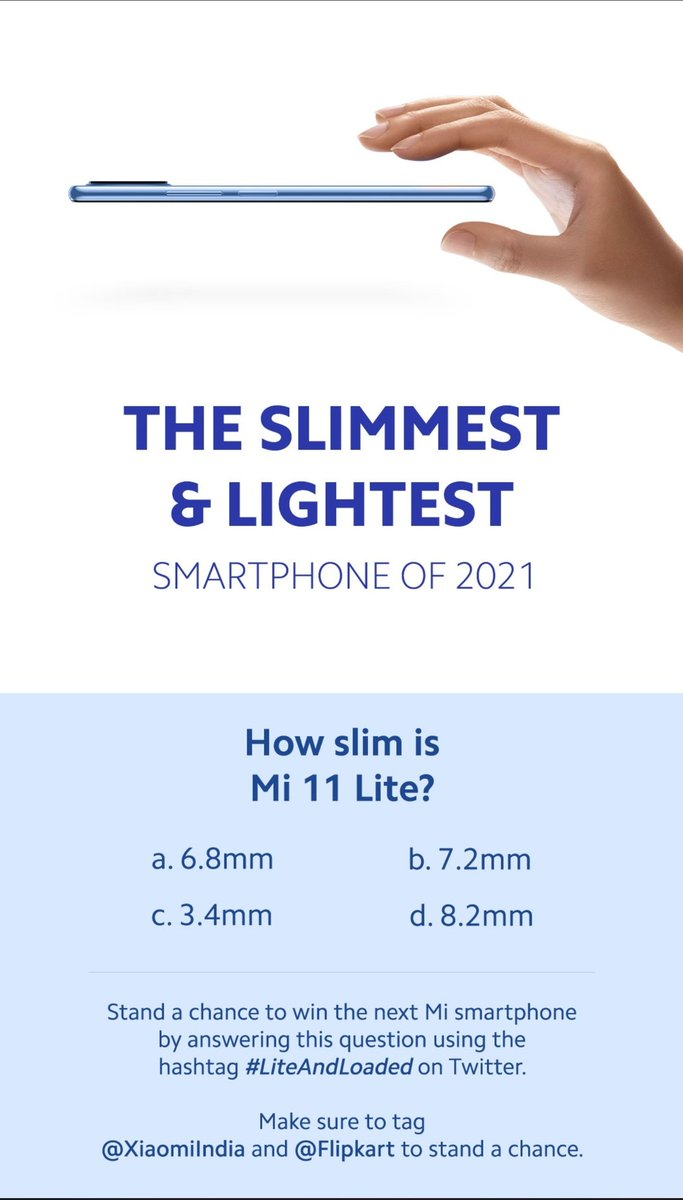 Mi Fans, are you missing out on all the fun?  Wait no more, & click here👇 https://t.co/b1yXipgBxa  Tweet your answers using #LiteAndLoaded, tag @XiaomiIndia & @Flipkart and stand a chance to win 1 #Mi11Lite for each correct answer😍  Launching 22nd June  RT🔁 & spread the word💪 https://t.co/OMEwUOQuC8