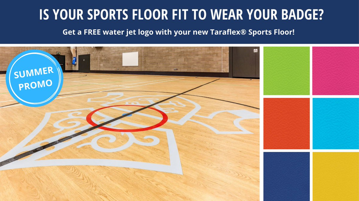 If you are considering a new Taraflex® Sports Floor for your facility, let us provide you with a free water jet logo (worth over £2,500*) as part of your project!   Find out more about this summer promotion here - https://t.co/rQe7V3t7uL   *terms and conditions apply https://t.co/QKveIqBQZ5