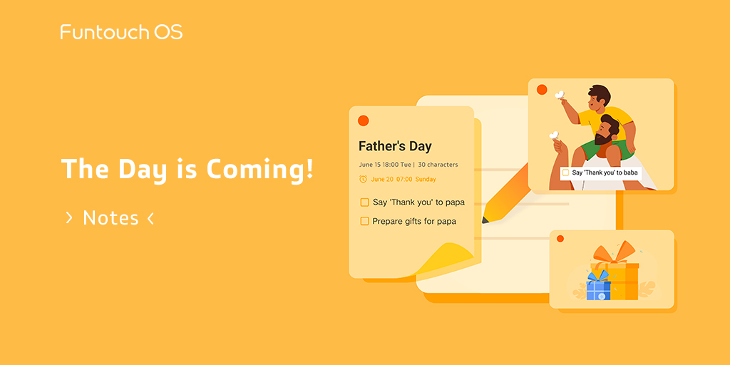 #FathersDay is coming soon! Set reminder on Notes. Never miss any meaningful days. 📍Simply #RT & reply to win! 🎁Theme Redeem Code: 3 lucky winners will be chosen at random! #FuntouchOS #vivo https://t.co/mroIArH9w6