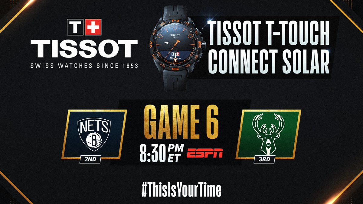 The #NBAPlayoffs continue tonight with Nets/Bucks Game 6 at 8:30pm/et on ESPN. #ThisIsYourTime   🛒 Shop @TISSOT Here: https://t.co/IBgyQ4VIdS https://t.co/7WyAZ92AWj