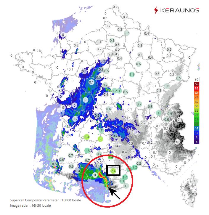 Un système orageux très actif a franchi les #Pyrénées et évolue sur #Occitanie. La cellule la plus à l'est est virulente et progresse dans un contexte propice aux #supercellules (SCP>2 à 16h à Carcassonne). Forts #orages imminents sur #Aude #HauteGaronne :