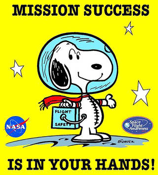 """Space Flight Awareness poster with Snoopy, text reads """"Mission Success is in Your Hands"""""""