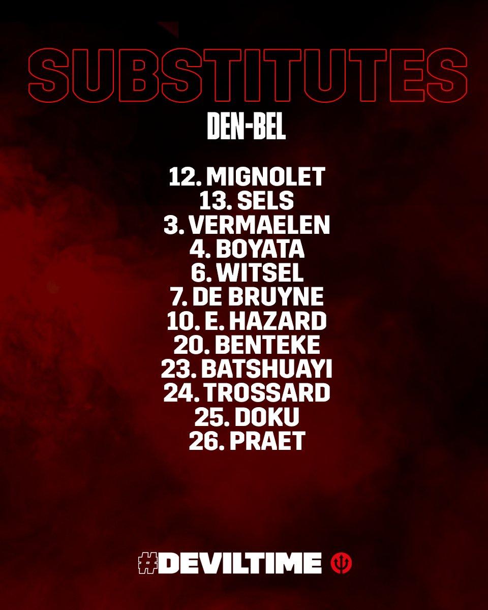 🇧🇪 @DeBruyneKev starts on the bench for Belgium in this afternoons game against Denmark! 💪  #DEN v #BEL - KO 17:00 GMT