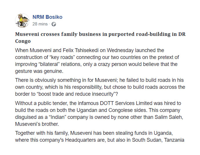 """Without a public tender, the infamous Salim #Saleh's DOTT Services Limited was hired to build the roads on both the #Ugandan and Congolese sides disguised as a """"Indian"""" company. #CorruptMuseveni #MuseveniMustGo https://t.co/SNAQKsGFi8"""