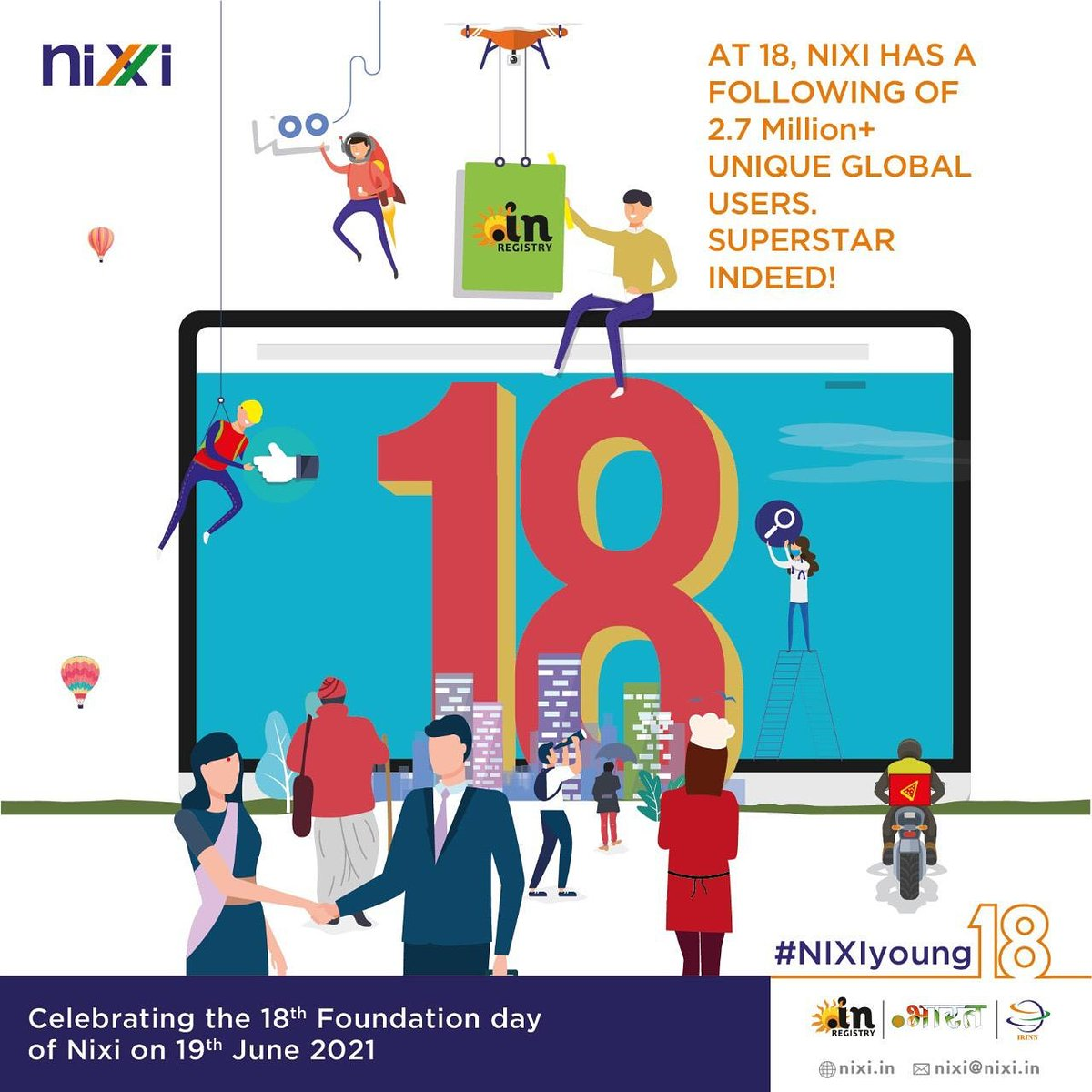 With 2.7 million + .IN domain registrations - NIXI is happy to have such a large family to celebrate with. #NIXIyoung18  https://t.co/4fU6LWjw9e   #business #celebration #dotin #growth #18years #leadership #success #goals #milestone #achievment #opportunity #entrepreneur https://t.co/iAty9rDePp